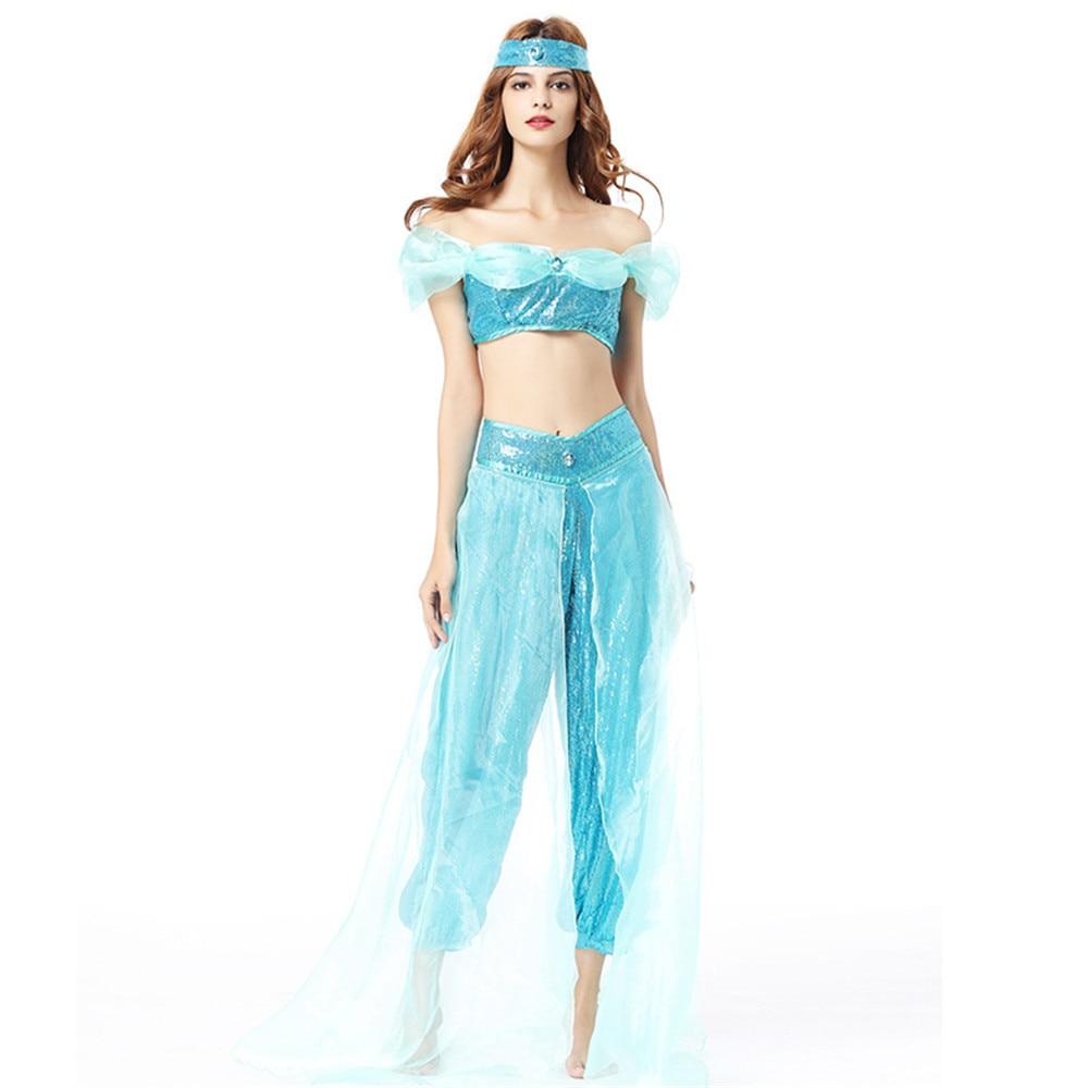 Halloween Aladdin magic lamp Aladin Jasmine Princess Cosplay Costumes Adult Carnival Party Masquerad Costumes