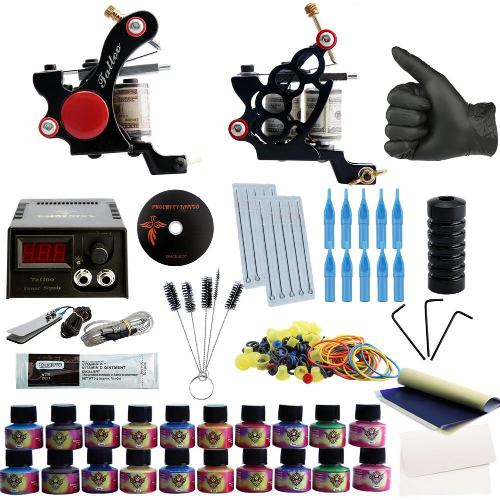 Complete Tattoo Kit Professional Tattoo Set Tattoo Kit Machines Set 20 Colors Inks Set Permanent Make Up LCD Tattoo Power 9656 early simple machines set