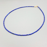 New Fashion Natural Gemstone Lapis Lazuli Approx 2mm 925 Sterling Silver Gold Color Choker Tiny Shining