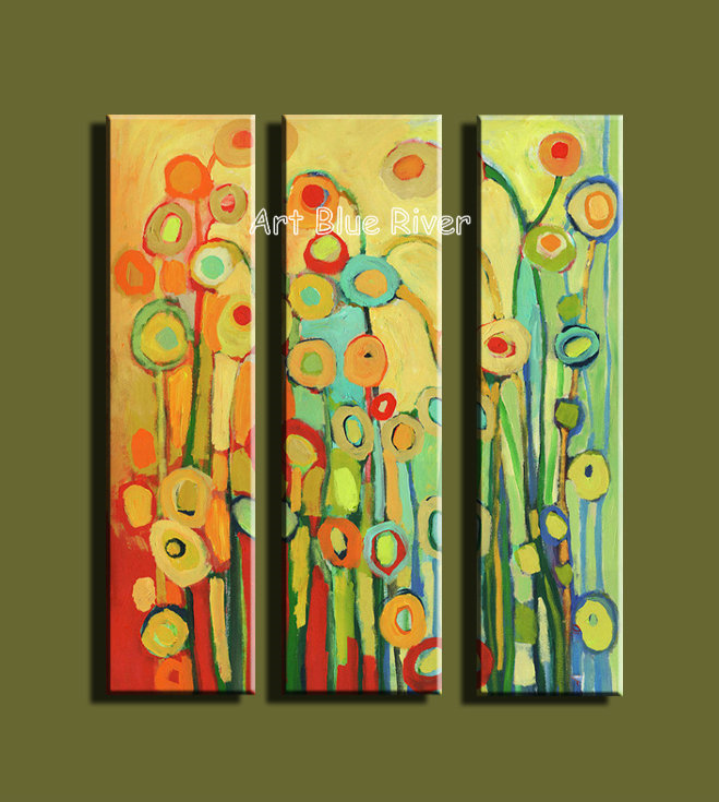 3 piece abstract modern canvas wall art handmade decorative flower ...