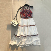 2018 summer new female Lace Embroidered printing spaghetti strap cotton stitching chiffon dress women's V neck bohemian dresses