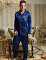 2017 Primavera Conjuntos de Pijama Dos Homens Imitação de Seda Pijamas Masculinos Sleepwear Botão V Neck Completo Manga Casual Azul 3313 Cor Bule