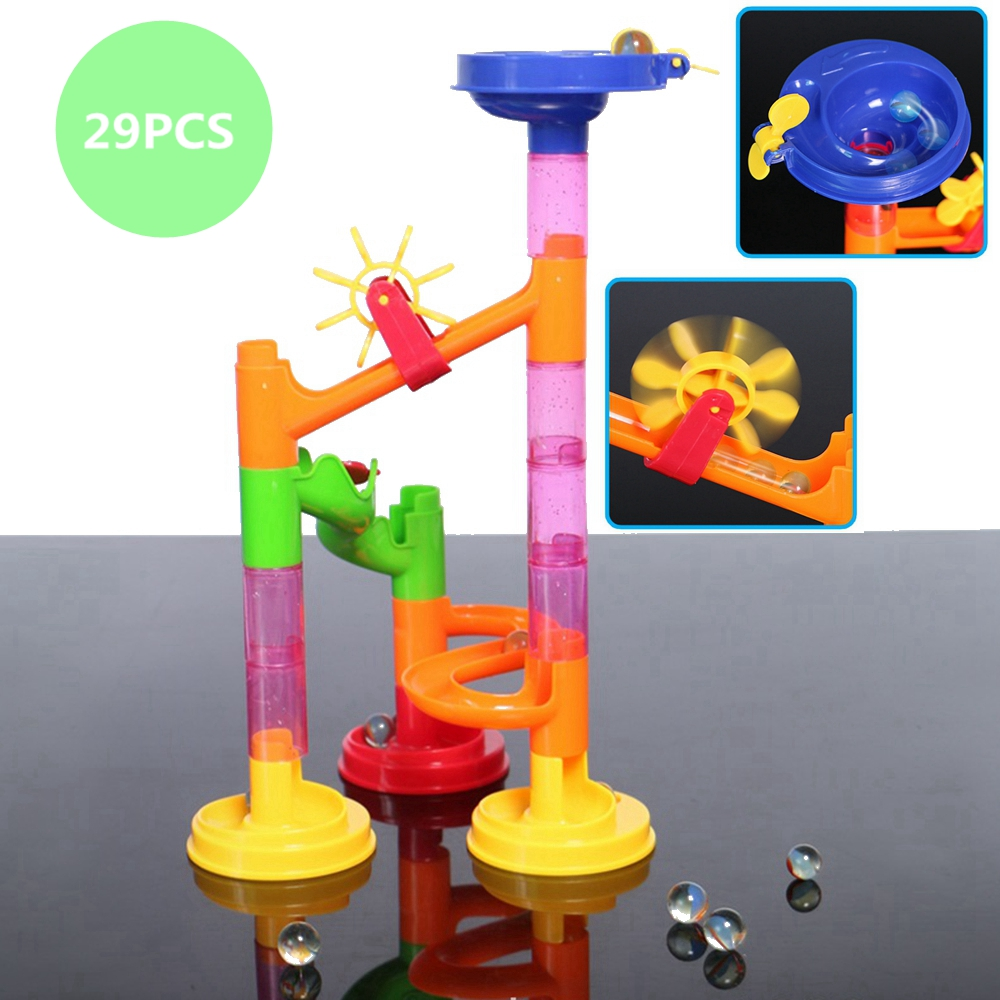 29pcs DIY Construction Marble Race Run Maze Balls Track Building Blocks Children Toy Kids Baby Educational Christmas Toys Gift 100 level 3d magic maze ball perplexus magical intellect ball educational toys marble puzzle game perplexus balls iq balance toy