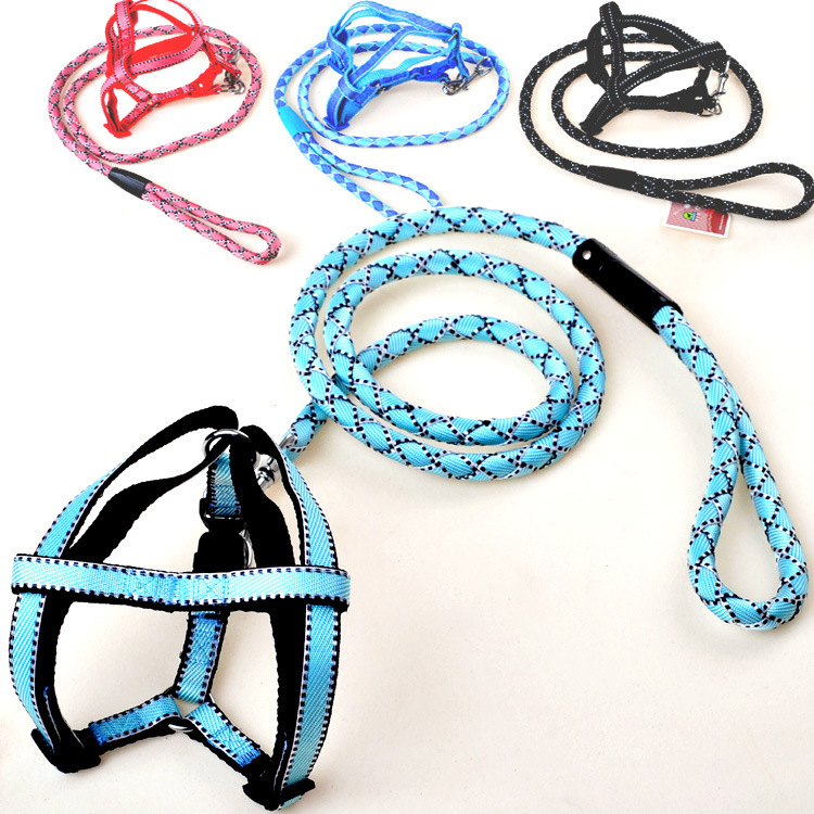 Durable Pet Braided Nylon Rope Dog harness with heavy duty Leash set 4colors S M L