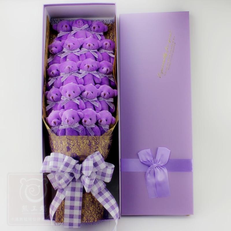 19 Pcs/set purple brown Bears Mini Bear Bouquet,Stuffed Fluffy Bear Dolls Toy Gifts For Wedding,Girlfriend Valentine's Day gift футболка toy machine leopard brown