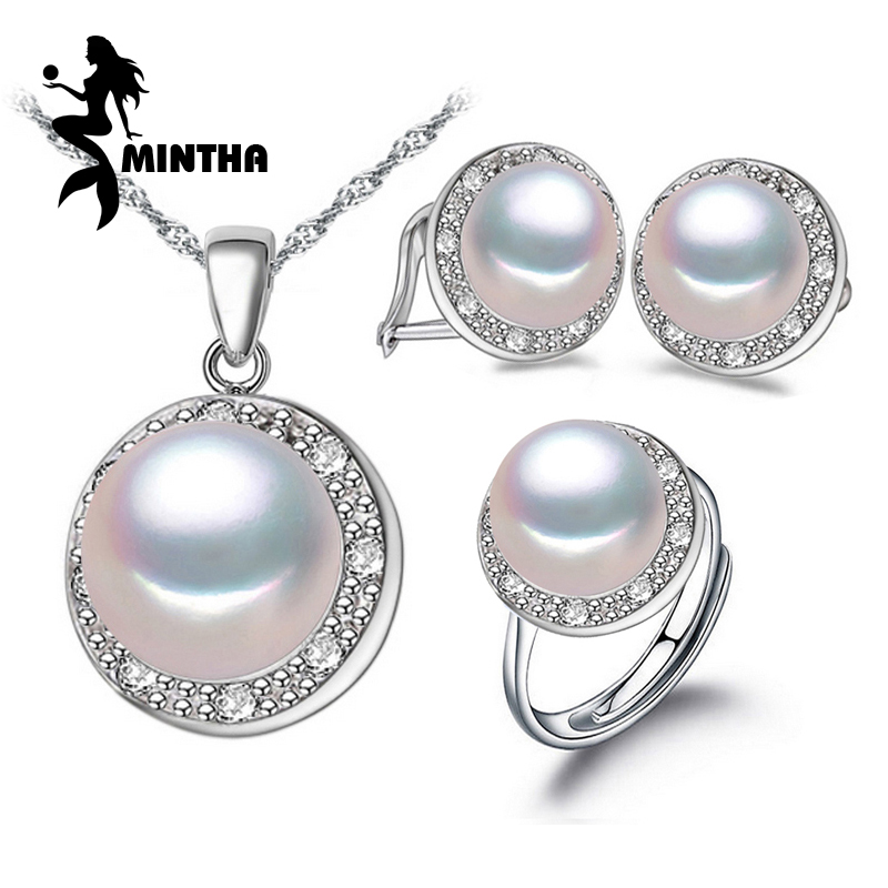 MINTHA Pearl Jewelry wedding engagement jewelry sets Natural Pearl pendant Necklace women party earrings female silver ringMINTHA Pearl Jewelry wedding engagement jewelry sets Natural Pearl pendant Necklace women party earrings female silver ring
