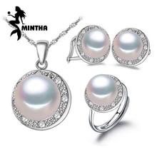 MINTHA Perlen Schmuck Hochzeit Engagement Schmuck-Sets, natürliche Perle Anhänger Halskette Frauen / Partei Ohrringe weiblich / Silber Ring