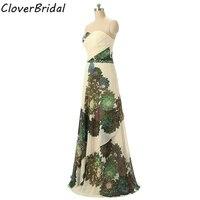 Real photos flores impressas baratos vestidos de festa longa para casamento printed flowers cheap prom dress in stock
