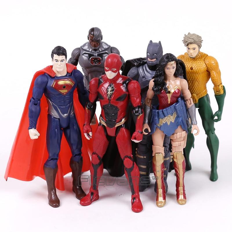 DC Comics Супер Герои Бэтмен Супермен Чудо-Женщина Аквамен зеленый Фонари киборг вспышки ПВХ Фигурки Игрушечные лошадки