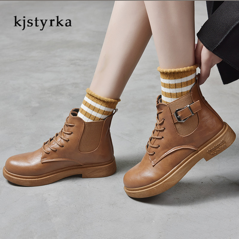 Kjstyrka round toe 2019 cotton fashion casual belt buckle patent leather martin boots female anti-slip ankle boots for women 4