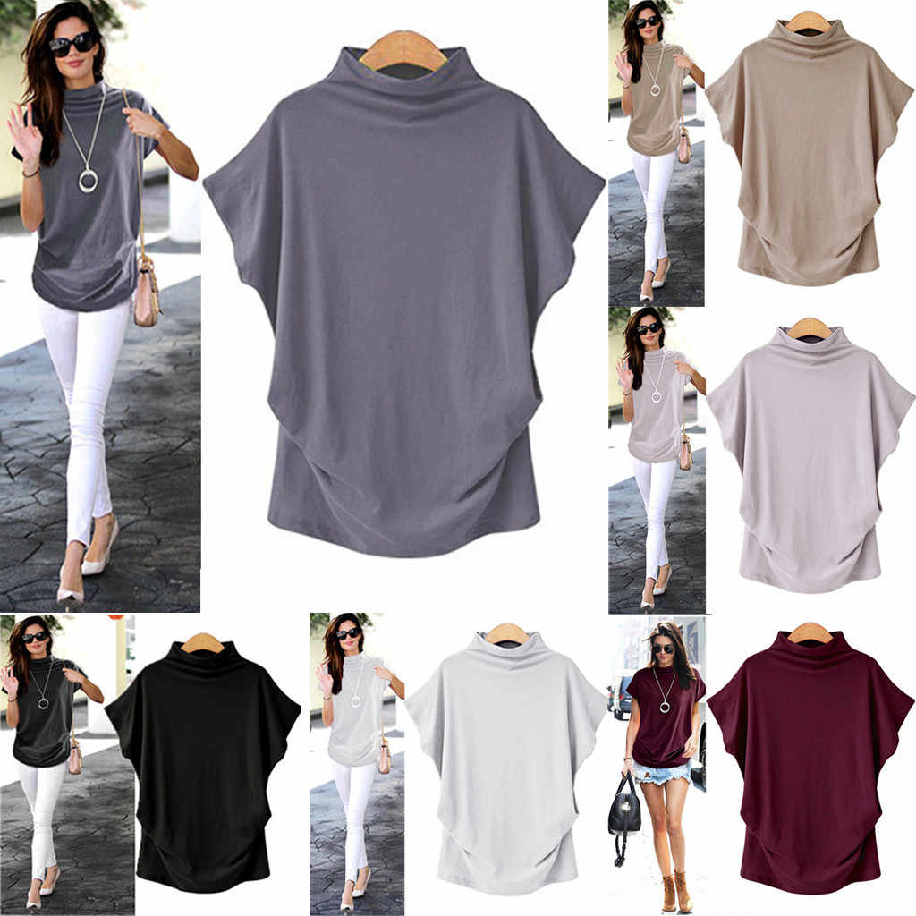 Women's high collar solid color T-shirt tops Female  short-sleeved cotton solid color casual fashion cotton T-shirt plus size
