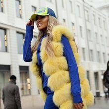 Hot Fashion Natural Fox Fur Long Vest Thick Warm Womens Winter Coats Outwear NE038