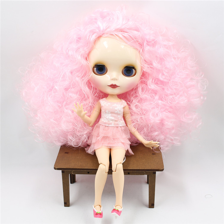 Fashion nude blyth doll with joint body special pink hair blyth doll for girls free shipping bjd joint rbl 415j diy nude blyth doll birthday gift for girl 4 colour big eyes dolls with beautiful hair cute toy