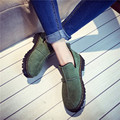 2017 new women's shoes women's shoes simple frosted thick-bottomed muffin shoes shallow mouth round female boots