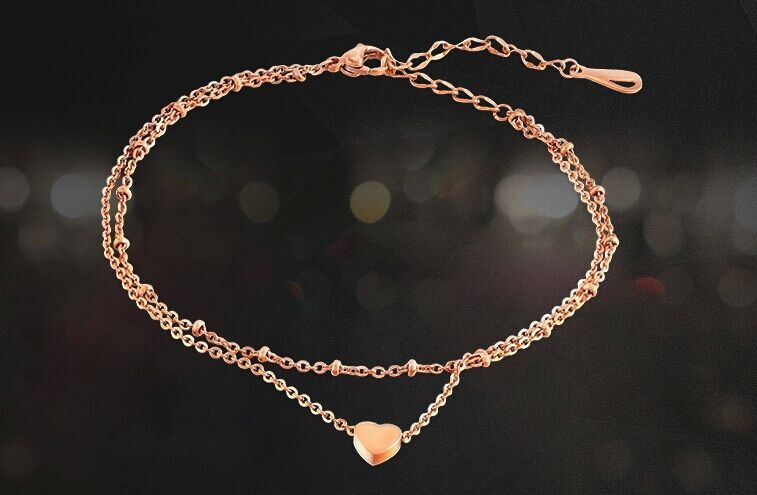 2016 New Fashion Gold Color Charms Double Layer Anklets Small Heart Shape Anklets Summer Beach Foot Jewelry Chain Foot Anklets