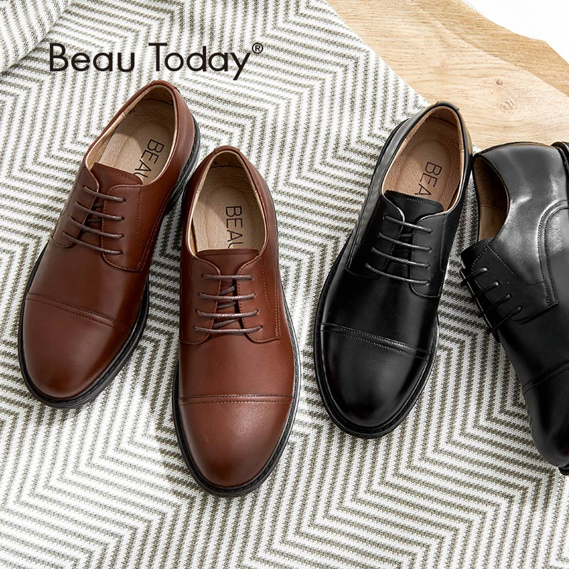 BeauToday Women Derby Shoes Genuine Leather Calfskin Lace-Up Round Toe Spring Autumn Casual Ladies Flats Handmade 21432