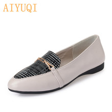 AIYUQI Genuine Leather women flat shoes, 2019 spring fashion rhinestone casual shoes women, Korean color matching Loafers