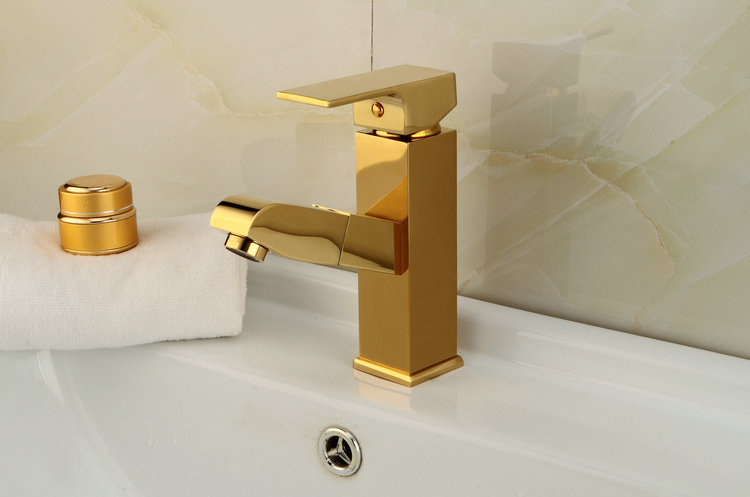 Vidric Solid Brass Gold-plated golden basin faucet bathroom pull out single handle mixer taps bathroom deck mounted faucets