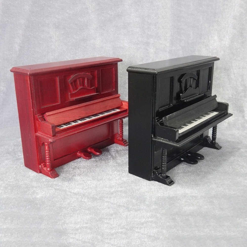 1/12 Dollhouse Miniature Accessories Mini Wooden Classical Piano Simulation Musical Instruments Model Toys for Doll House Decor