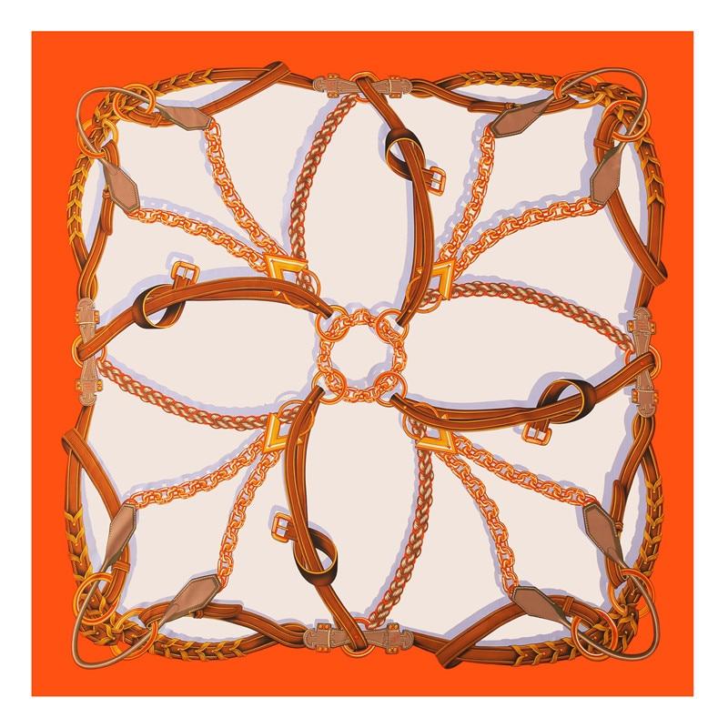 POBING Pure Silk Scarf Women Large Shawls Stoles Melt Chain Print Square Scarves Echarpes Foulards Femme Wrap Bandanas 130*130CM