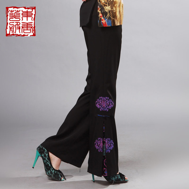 Magnificently spring and autumn women's tang suit anti-wrinkle fabric embroidery lantern chinese style tang suit trousers