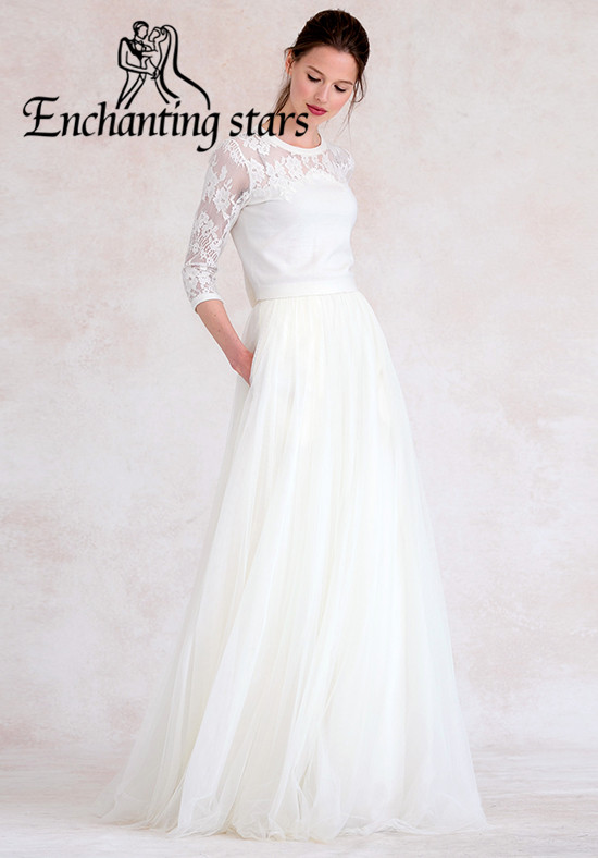 2017 Junior Bridesmaid Dresses Romantic White Tulle O'Neck Weddings Party Sheer 3/4 Sleeves Lace Appliques Prom Pageant Gown - Molibridal_ Store store