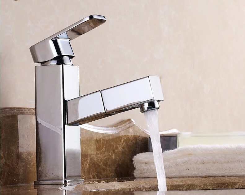 brass chrome finish hot and cold bathroom pull out shower head basin faucet sing tap square