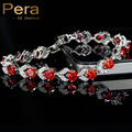 Elegant Women Design 925 Sterling Silver Jewelry Created Ruby Red And White Stone Ladies Party Bracelet For Christmas Gift B097