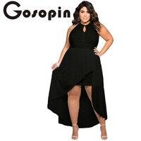 Gosopin 2017 Özel Durum elbise Seksi Parti Kıyafeti Şık Siyah Dantel Artı Boyutu Yüksek Düşük Elbise vestido longo de festa LC61037