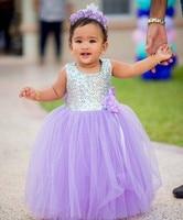 Custom Made Flower Girl Dresses for Wedding Lavender Tulle Princess Tutu Sequined Zipper Back with Bow