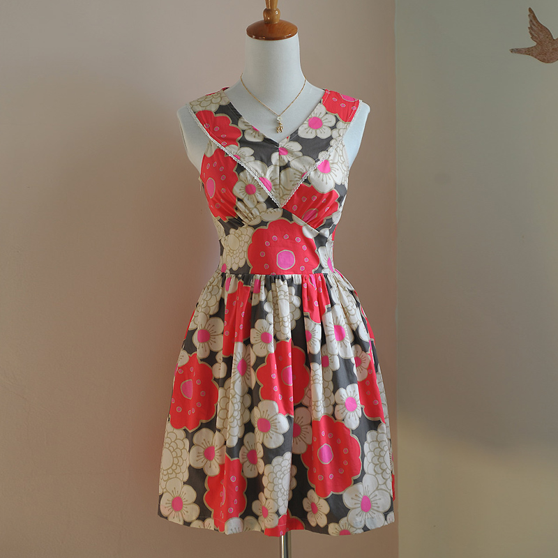 D'une Seule Chinoiserie D'impression V Original Mode Mince Multi Fleur Pièce cou D'été Vintage Robe Design Lynette's De Femmes OdC6w6q