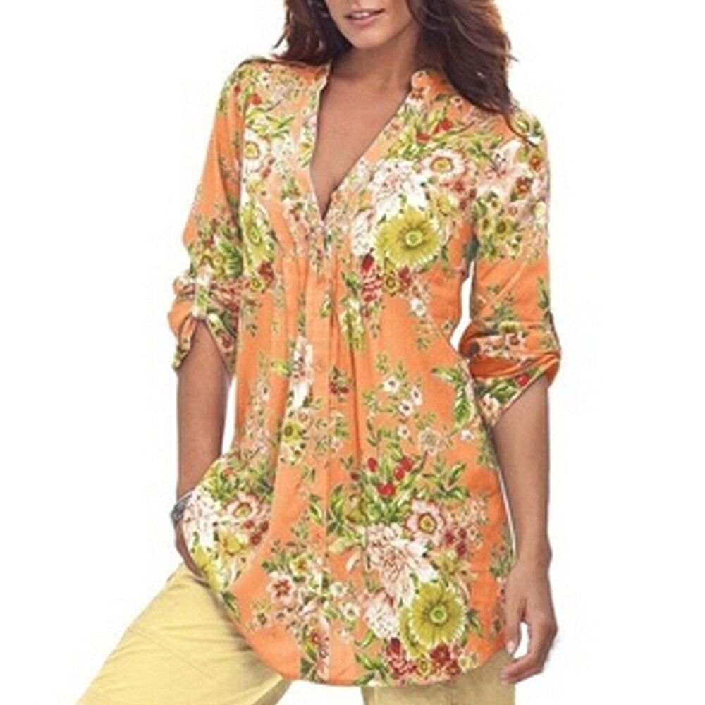 135f9765790a Las mujeres Vintage Floral estampado con cuello en V túnica Tops sueltas  damas cómodos Tops ...