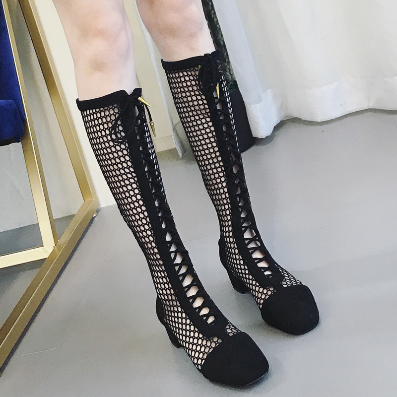 Women's shoes Roman gladiator high tube cross straps fishnet stockings high heel thick with Baotou hollow women's cool boots high rise fishnet panel bikini