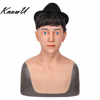 KnowU Silicone Realistic Male Masks Drag Queen Halloween Headwear Crossdressers Cosplay