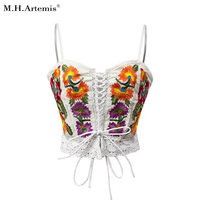 M H Artemis Boho Chic Ethnic Embroidery Lace Up Crop Top Elegant Camis Women Sexy Backless