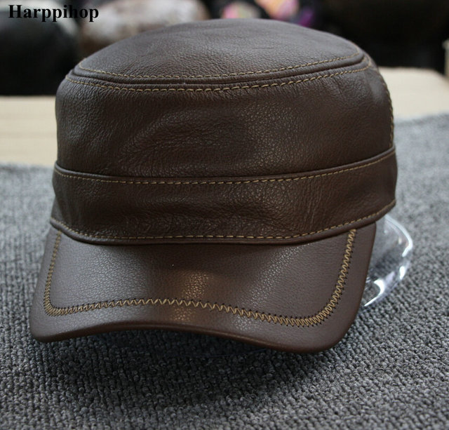 5991091290d45 Men s cowhide military hat 100% Genuine leather cap autumn and winter  patchwoak quilted leather warm