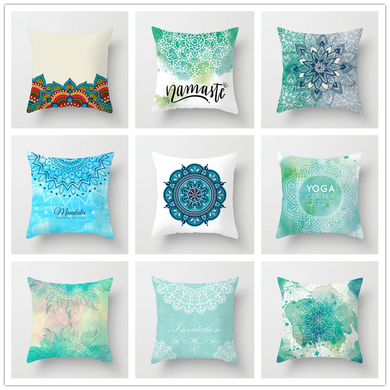 20 Colors Printed Mandala Style Pillow Case Square 45cm*45cm Polyester Waist Throw Pillowcase Home Decorative