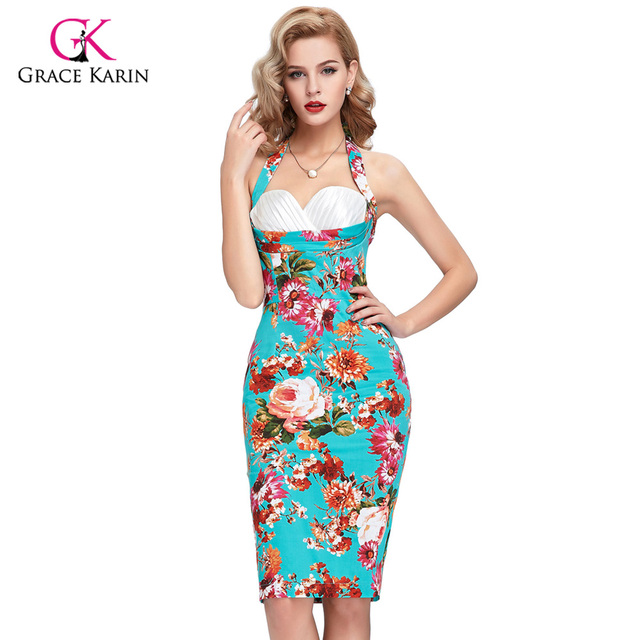 208f1dd75df6e Womens 50s Vintage Cocktail Dresses Sexy Floral print Vestidos Bodycon robe de  cocktail Ladies Casual Party Dresses