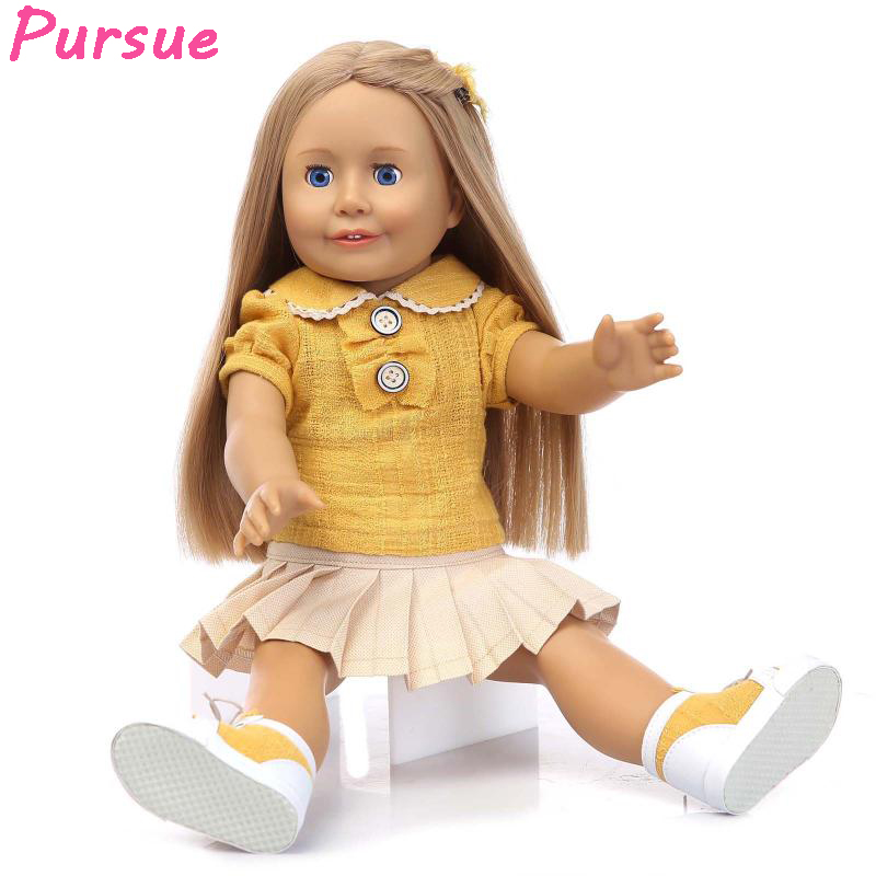 Pursue Brown Eyes Long Blond Hair American Girl Doll Reborn Silicone Reborn Baby Dolls Toys for Children reborn boneca silicone