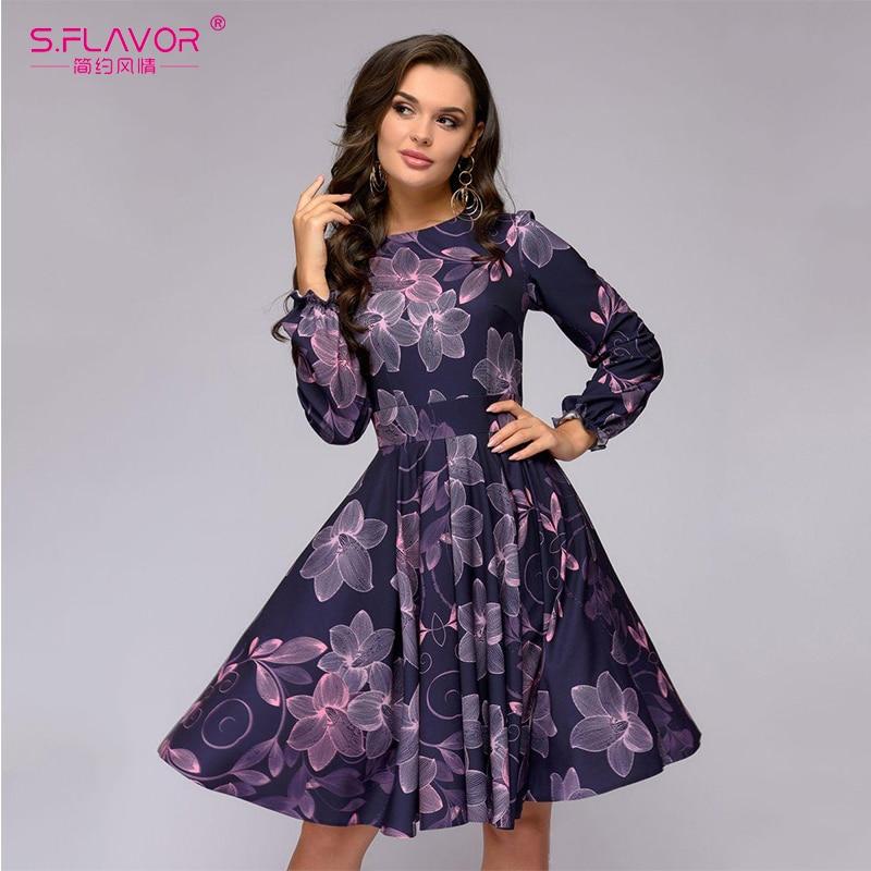 S sabor de las mujeres de impresión vestido elegante de color púrpura con volantes largo manga corta vestido nuevo Otoño Invierno vintage vestidos