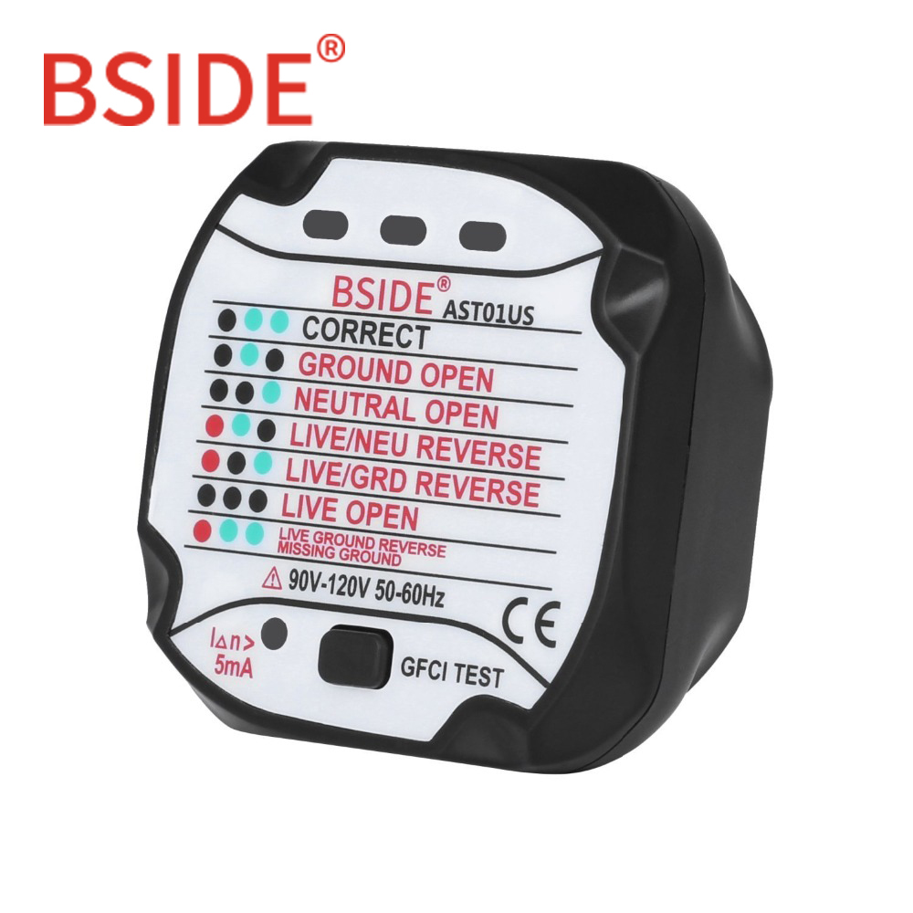 BSIDE AST01US Socket Tester GFCI Outlet Tester Automatic Electric Circuit Polarity Voltage Detector Wall Plug Breaker Finder