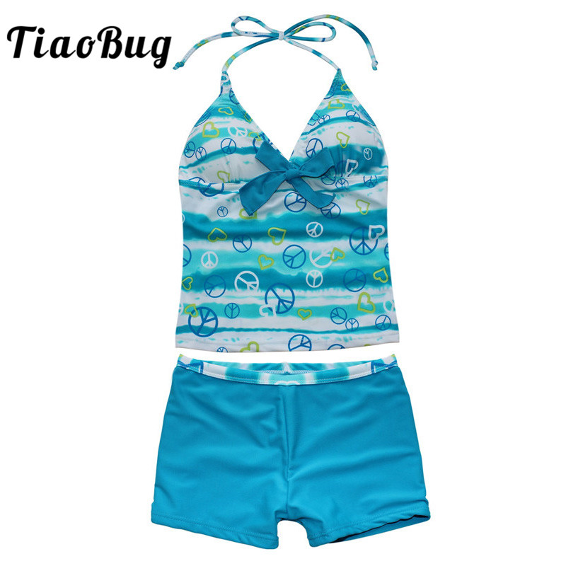 TiaoBug Kids Teens Blue Two-Piece Removable Bra Pads Halter Tops With Shorts Bikini Set Girls Swim Bathing Suit Tankini Swimsuit