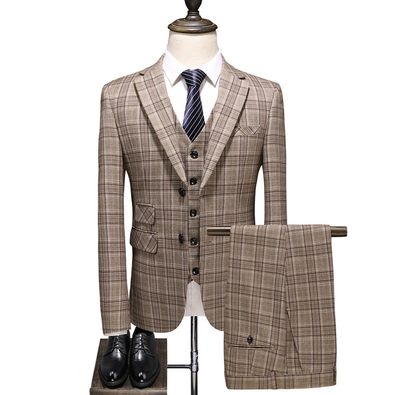 Men's Business English Khaki Official Plaid Slim Single-breasted Slim Banquet Custom Suit Set 3pcs (blazer+ Vest + Pants) 5XL