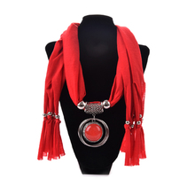 Elegant Women Ladies Necklace Scarves Owl Pendant Jewelry Tassels Scarf Shawl