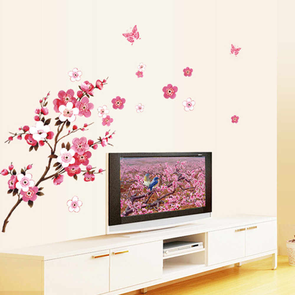1 PC Beautiful PVC Removable Room Peach Blossom Flower Butterfly Wall Stickers Vinyl Art Decals Decor Mural living bedroom deco
