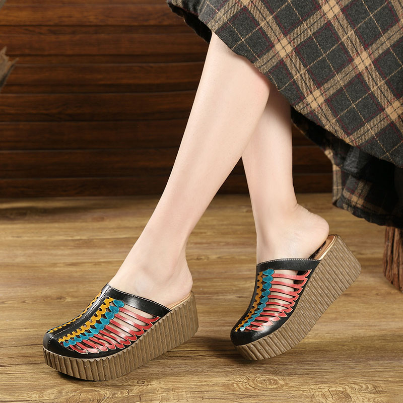 2019 Summer Shoes Female Slippers Closed Toes Hollow Out Handmade Thick Heels Genuine Leather Women Platform