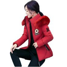 2016 Winter Women Coat Brief paragraph Down Cotton padded Jacket Thicken Warm Fur Collar Leisure Big
