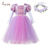MUABABY Girls Rapunzel Dress Long Puff Sleeve Sofia Ball Gown Children Kids Birthday Carnival Party Princess