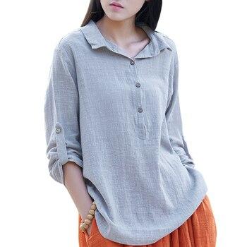 5bbd5ad084684c8 2019 новые весенние Хлопковые женские блузки с длинными рукавами китайские  стильные шаровары рубашки с подставкой летние