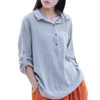 2019 spring new Cotton Long sleeve Blouses Shirts women Chinese Style Loose Stand Shirts summer Solid color Linen Shirts women